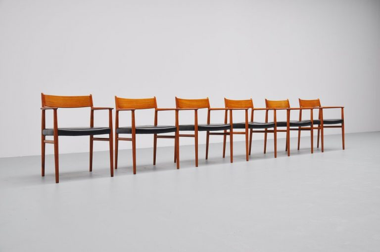 Arne Vodder teak dining chairs set of 6 Sibast 1965