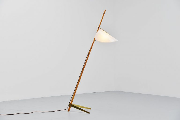 J.T. Kalmar bamboo floor lamp Austria 1950