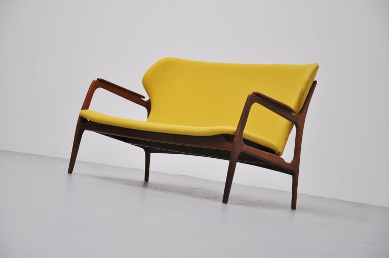 Danish lounge sofa in yellow upholstery 1960