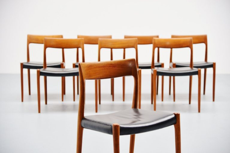 Niels Moller model 77 dining chairs in teak Denmark 1959