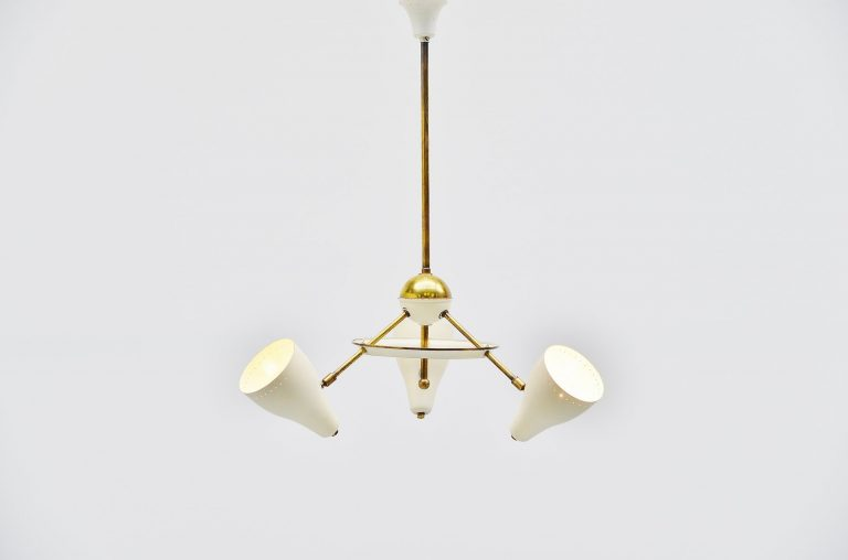 Italian ceiling lamp white and brass shades 1950
