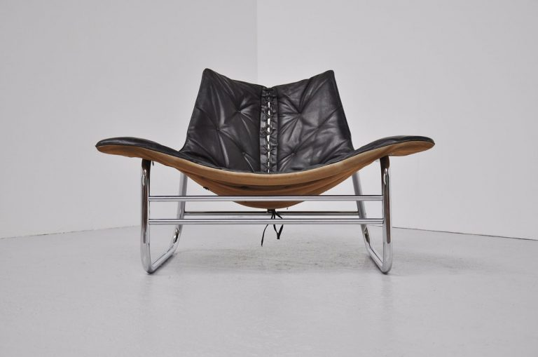 Leather corset lounge chair French 1970