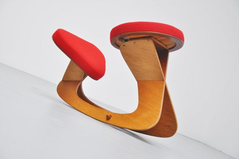 Ergonomic stool by Hugo Holland 1990