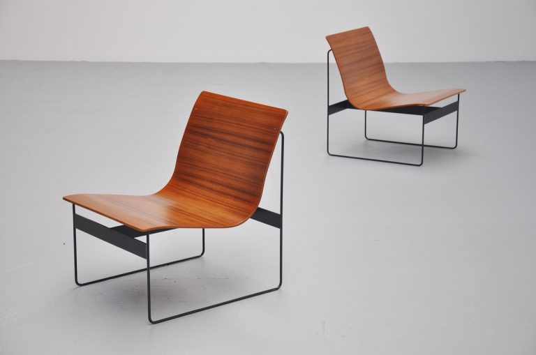 Günter Renkel plywood lounge chairs for Rego Germany 1959