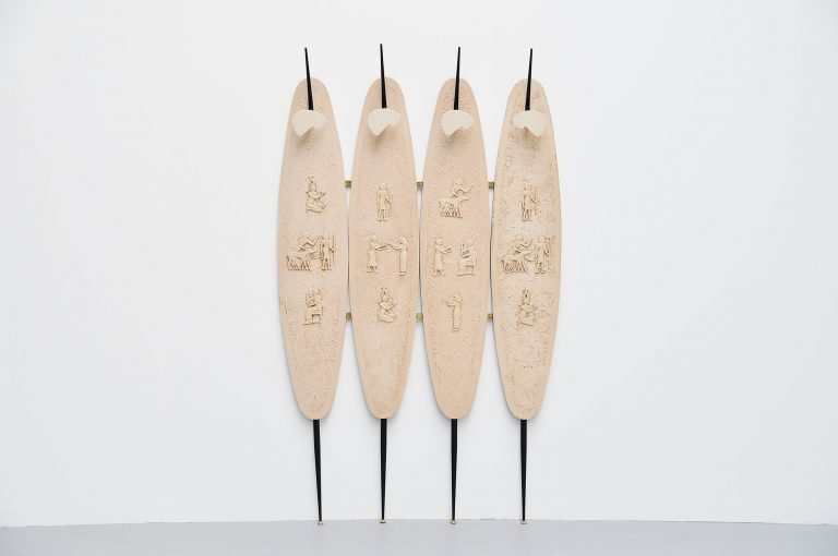 Italian coat rack with Egyptian artworks 1950