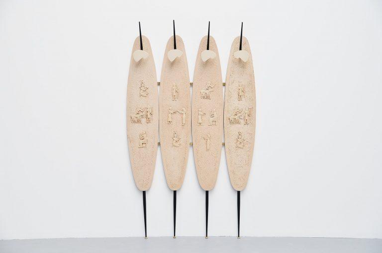 Italian coat rack with Egyptian artworks 1950
