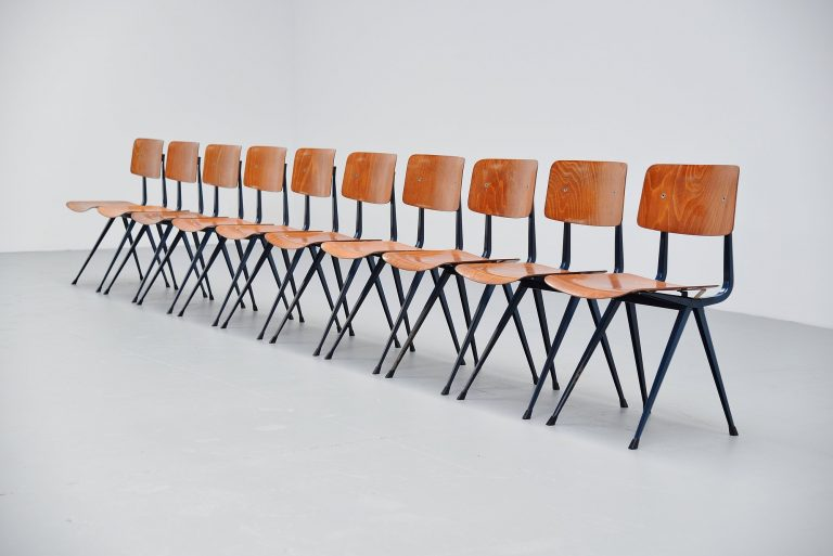 Friso Kramer Result chairs set in Petrol Ahrend 1960