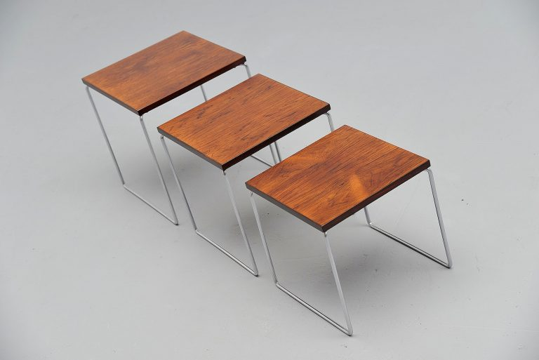 Modernist nesting tables in Rosewood Holland 1960