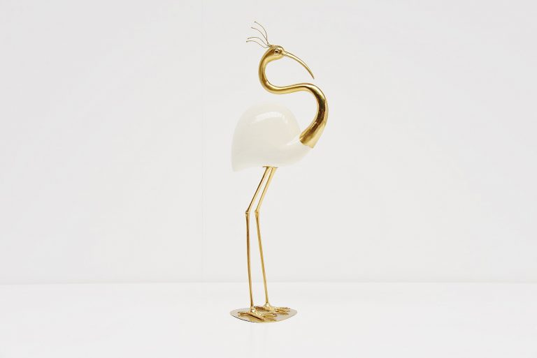 Decorative crane sculpture in brass and ceramic Italy 1970