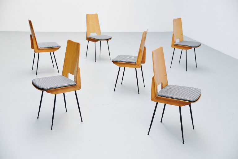 Carlo Ratti dinner chairs Italy 1950