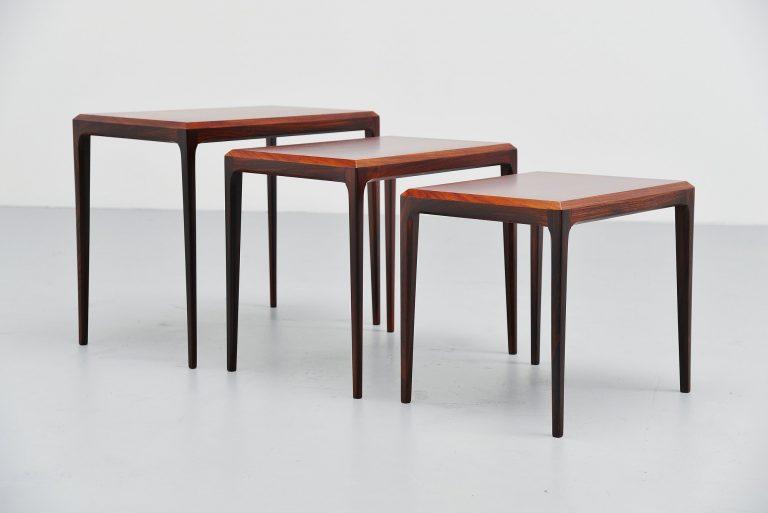 Johannes Andersen nesting tables in Rosewood Silkeborg 1960