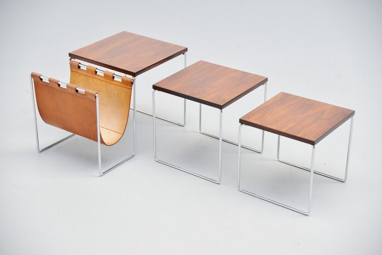 Dutch modernist nesting tables in rosewood 1960