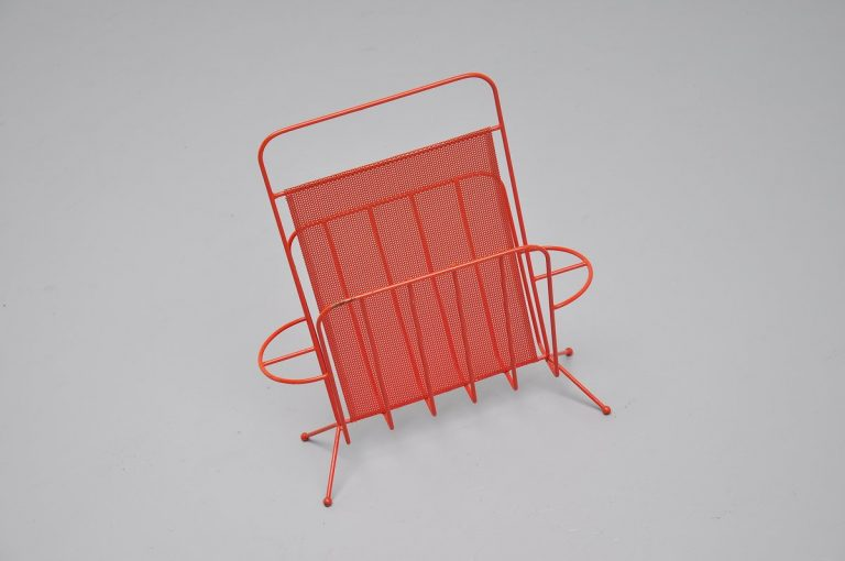 Mathieu Mategot red magazine stand Artimeta 1960