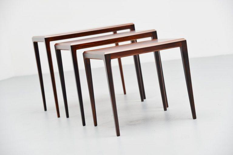 Johannes Andersen rosewood nesting tables Silkeborg 1960