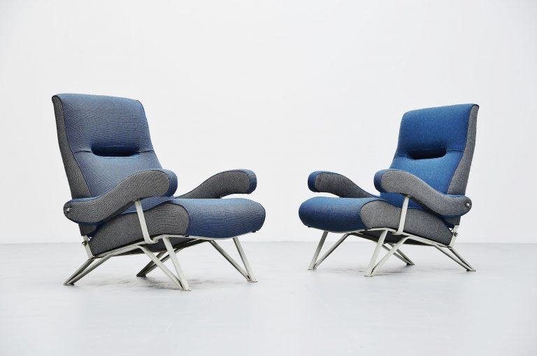 Gianni Moscatelli adjustable lounge chairs Formanova Italy 1959