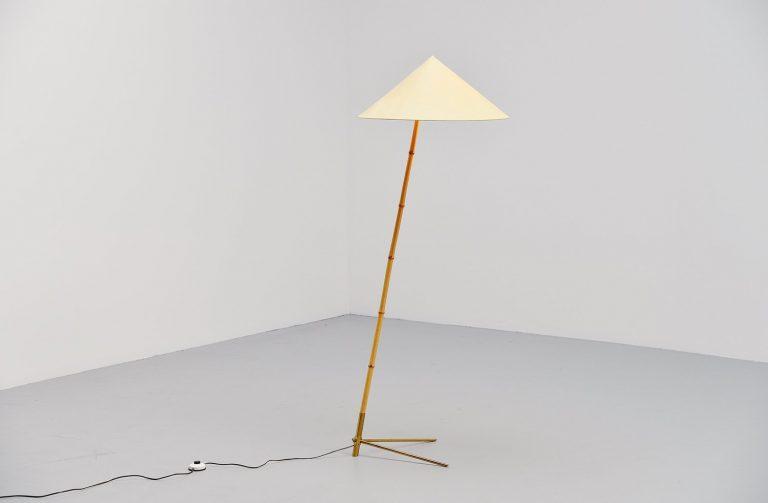 Rupert Nikoll bamboo floor lamp Austria 1950