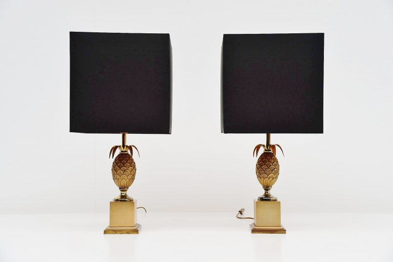 Pair Maison le Dauphin pineapple table lamps France 1970