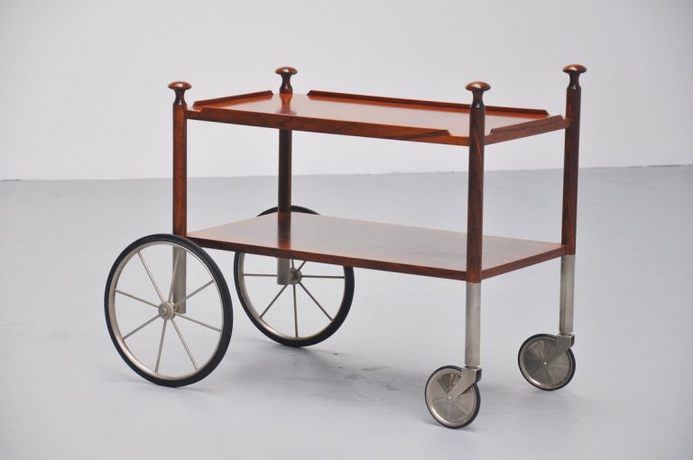 Wilhelm Renz tea cart in rosewood Germany 1960