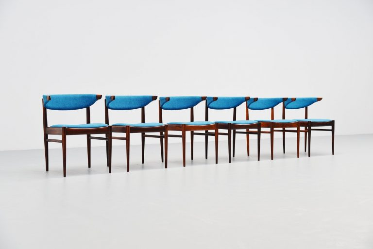 Danish cowhorn chairs with blue upholstery 1960
