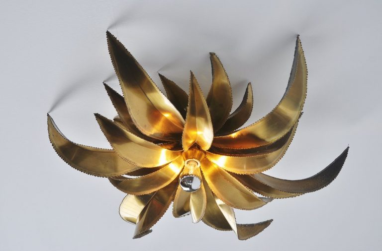 Maison Jansen palm leaves ceiling or wall lamp France 1970