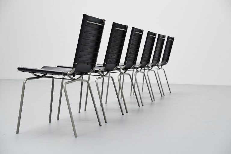 Fabiaan van Severen crossed leg dining chairs Belgium 1998