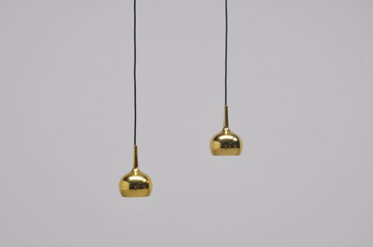 Hans Agne Jakobsson pair of small pendant lamps Denmark 1960