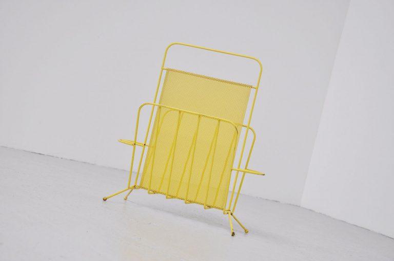 Yellow Mathieu Mategot magazine stand Artimeta 1960