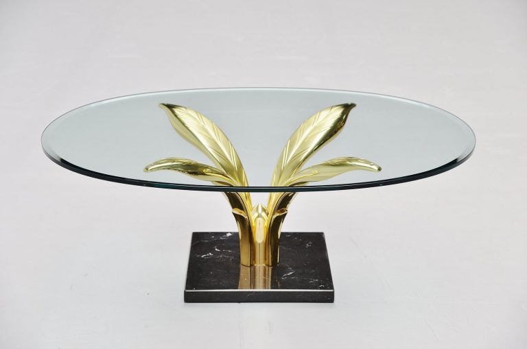 Maison Charles palm leaves coffee table France 1970