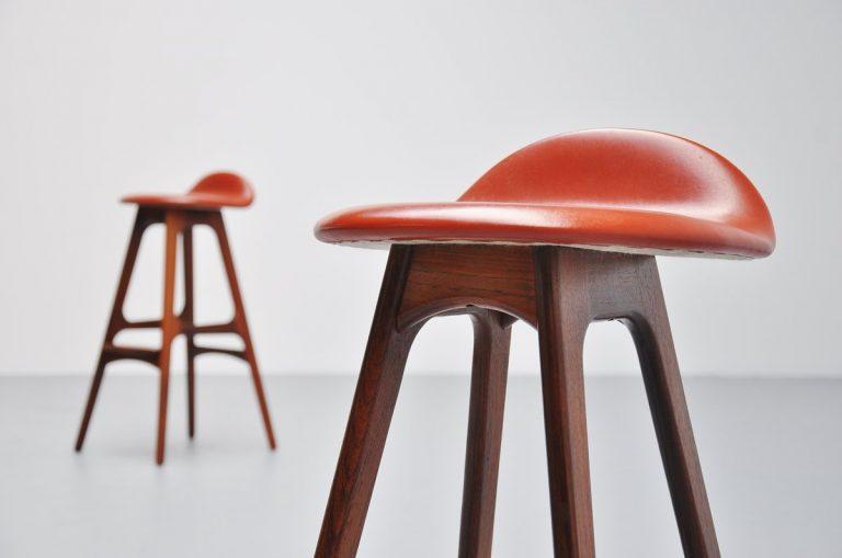 Erik Buck bar stools in rosewood, Odense 1965