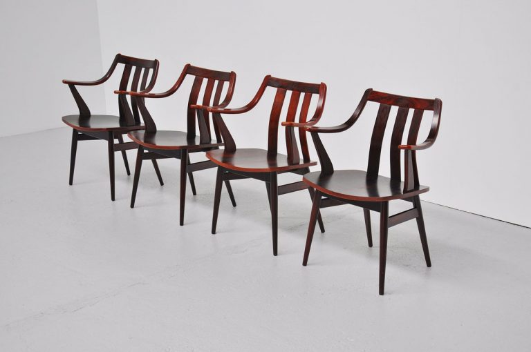 Rosewood Dutch plywood chairs 1960