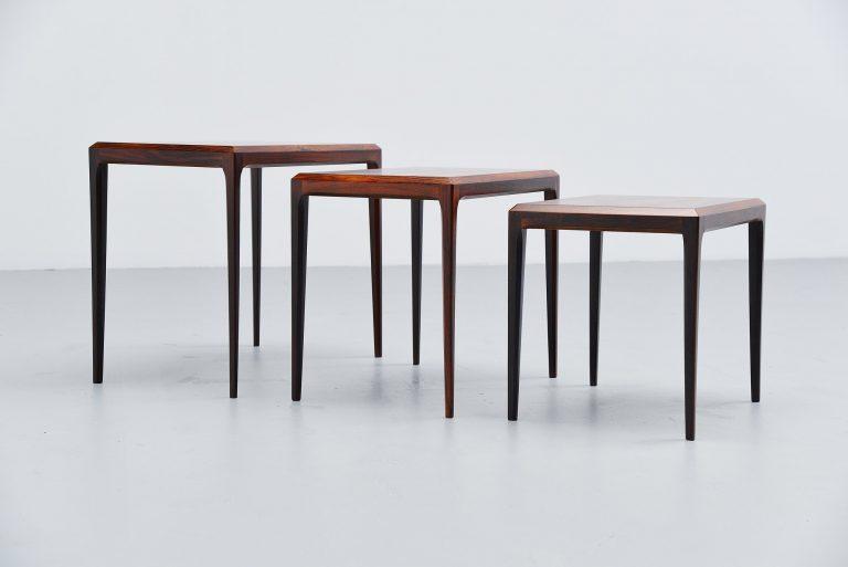Johannes Andersen nesting tables Rosewood Denmark 1960