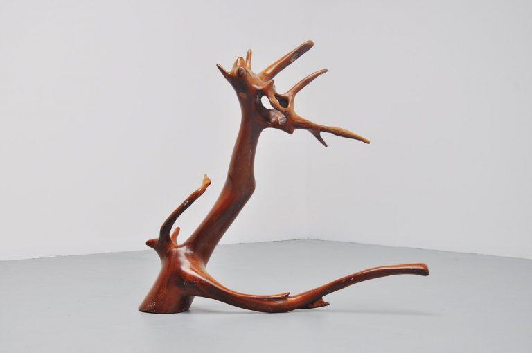 Tree trunk sculpture dragon shaped 1960