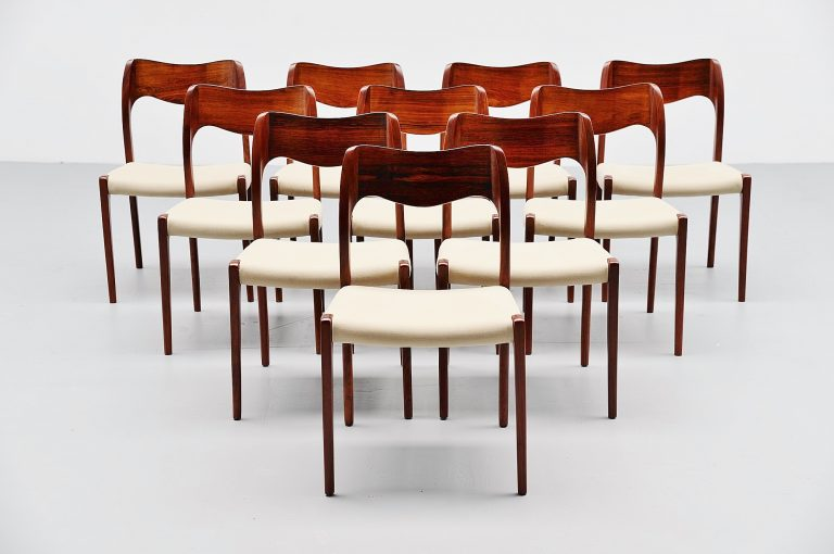 Niels Moller Model 71 dining chairs in rosewood Denmark 1951