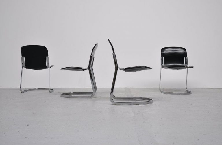 Cidue dining chairs black leather, Italy 1970