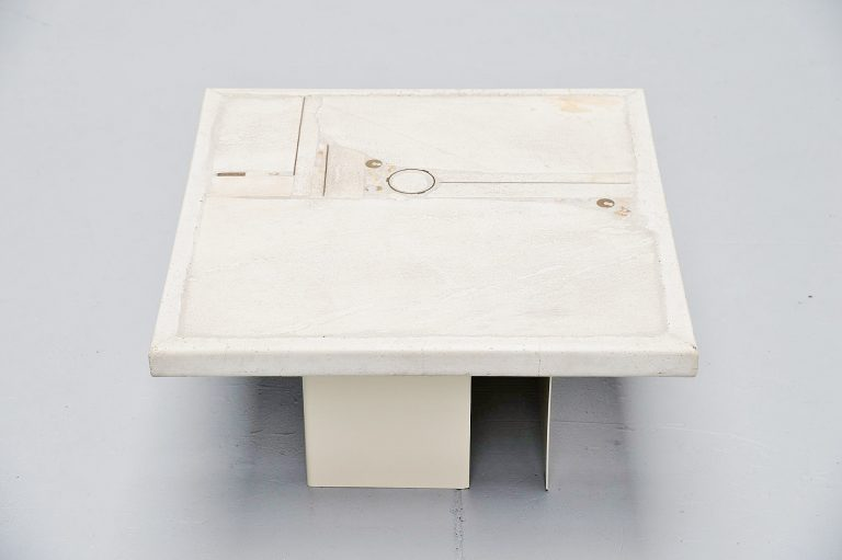 Paul Kingma white square sofa table Holland 1986