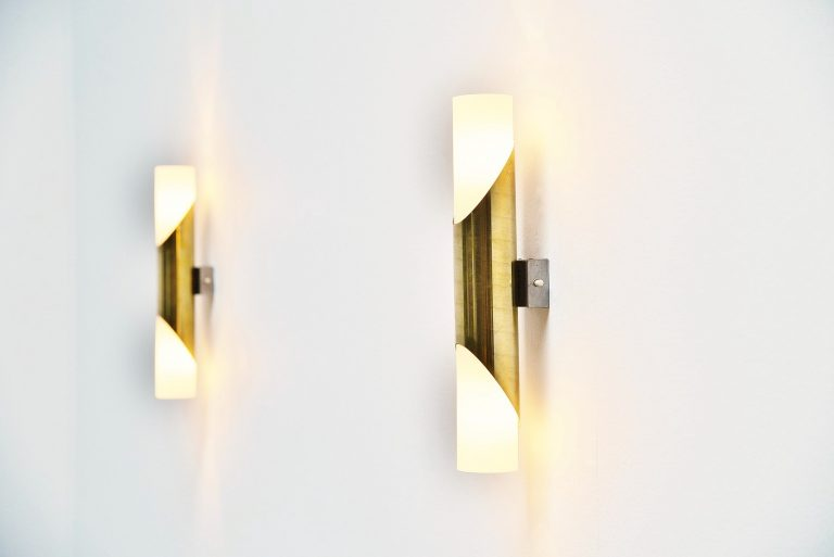 Gio Ponti style sconces in brass Italy 1950