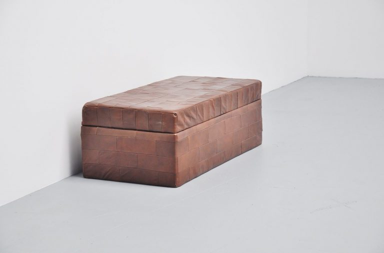 De Sede storage poof in brown patchwork leather 1970