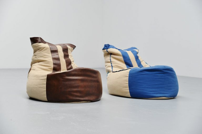 Pair of sneaker bean bag seats Germany 1970