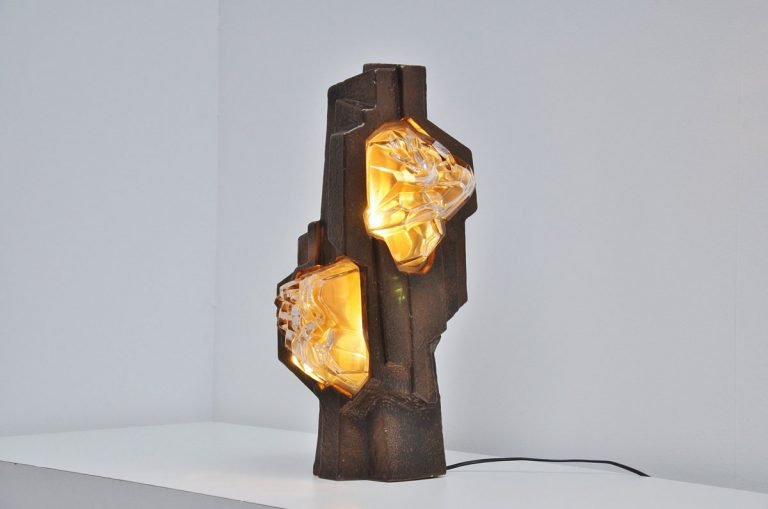 Sculptural ceramic table lamp from France 1970