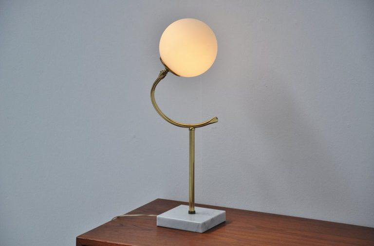 Stilnovo table lamp marble and glass Italy 1950