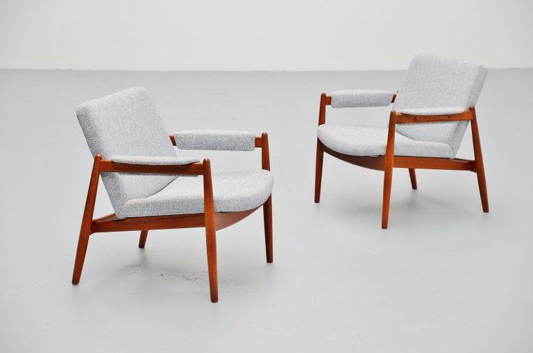Arne Vodder teak lounge chairs Vamo Sonderborg 1960