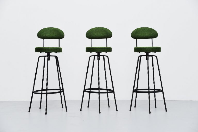 French wrought iron bar stools Divina Kvadrat France 1960