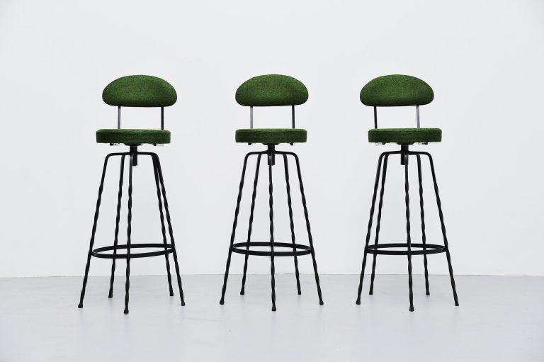 French wrought iron bar stools Divina Kvadrat France 1960