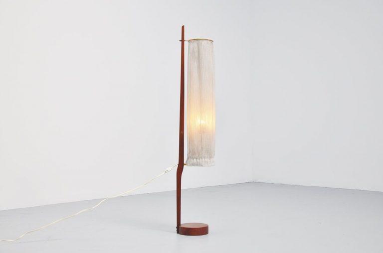 J.T. Kalmar teak floor lamp Austria 1950