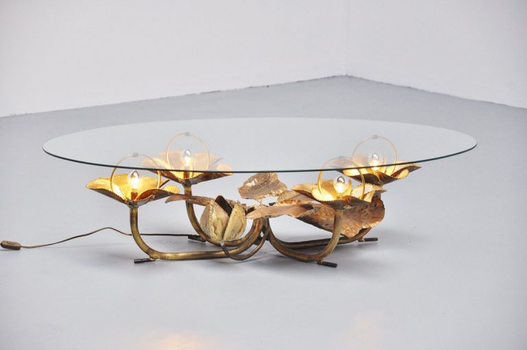 Brass Illuminated Lily flower coffee table, Belgium 1970