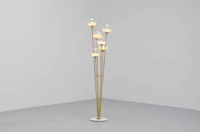 Stilnovo marble brass and glass floor lamp Italy 1965