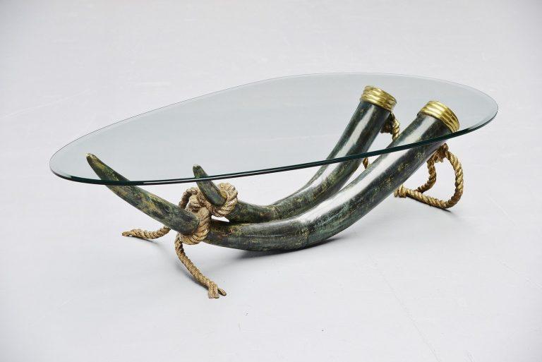 Italo Valenti bronze elephant tusk table Spain 1975