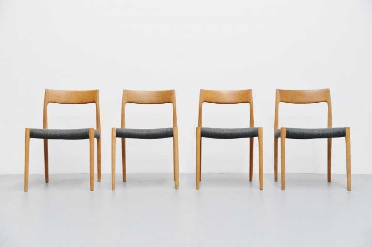 Niels Moller model 77 chairs in oak Denmark 1959