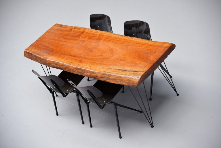 Tree trunk dining table with hairpin leggs Holland 1950