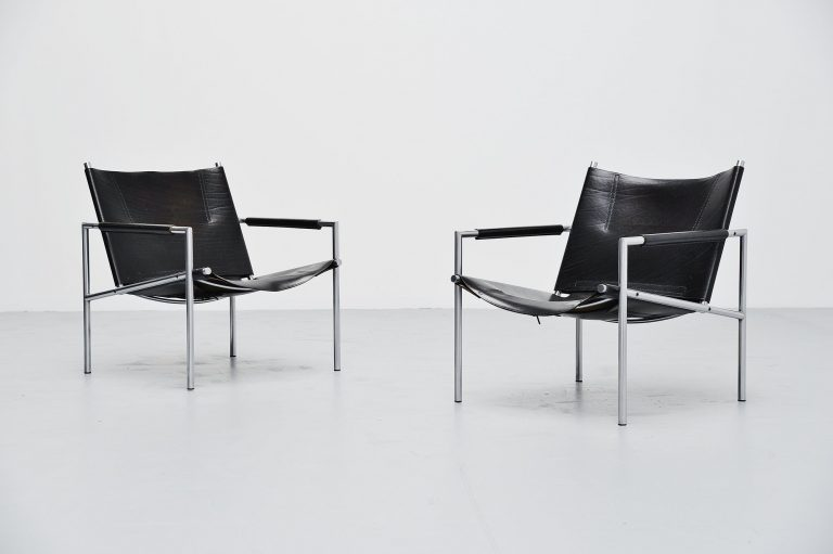 Martin Visser SZ01 easy chairs black 't Spectrum 1965